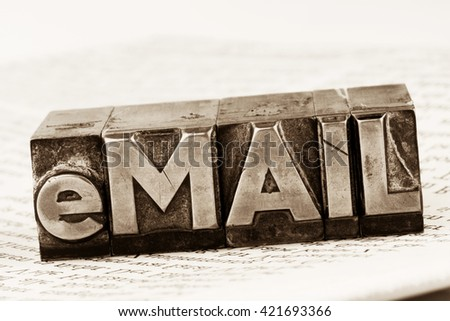 written email in lead letters - stock photo