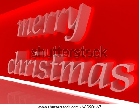 "Written:""Merry Christmas"" on the red wall - stock photo"