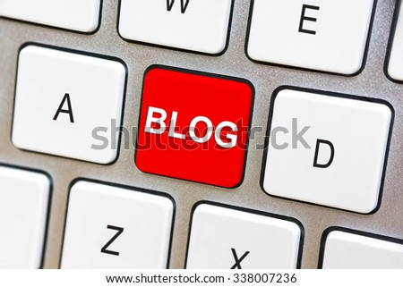 Written word Blog on red keyboard button - stock photo