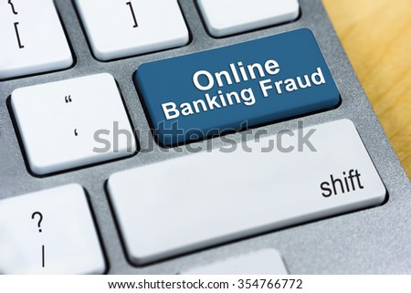 Written word Online Banking Fraud on red keyboard button. Online Protection and Internet Security Concept. - stock photo