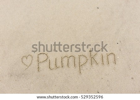 "written words ""Pumpkin"" on sand of beach"