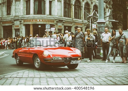 Wroclaw- August 18: Alfa Romeo on Motoclassic show on vintage effect  in Wroclaw, Poland on August 18, 2014. - stock photo