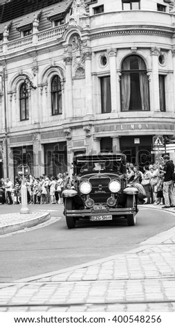 Wroclaw- August 18: Cadillac Lasalle on Motoclassic show in black and white  in Wroclaw, Poland on August 18, 2014. - stock photo