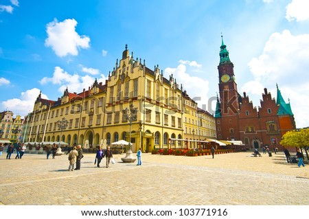 Wroclaw City center, Market Square and City Hall - stock photo
