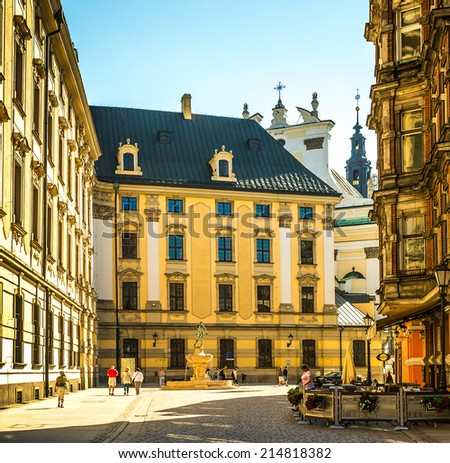 Wroclaw - May 3, 2014: Wroclaw - Poland's historic center, a city with ancient architecture.