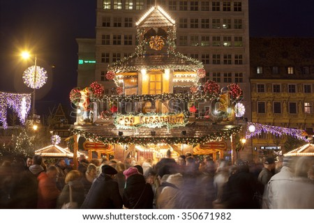 WROCLAW, POLAND - DECEMBER 12: Christmas market in Wroclaw at evening, on 12 December 2015.Wroc?aw is European city of culture in 2016. - stock photo