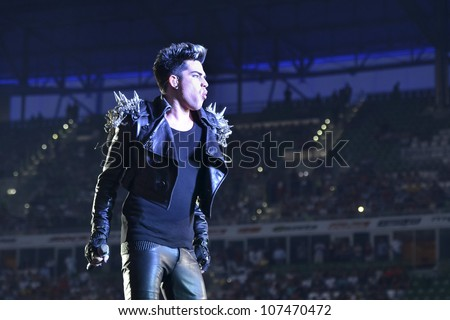 WROCLAW, POLAND - JULY 7:  Concert Queen + Adam Lambert in the Rock Festival in Wroclaw on July 7, 2012 in Wroclaw, Poland. New singer of the band Adam Lambert.