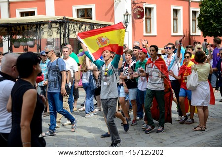 WROCLAW, POLAND - JULY 23: Unidentified group of pilgrims join Days In Dioceses to prepare just before The World Youth Day in Cracow. Pilgrims with Spanish flag on July 23rd 2016 in Wroclaw.