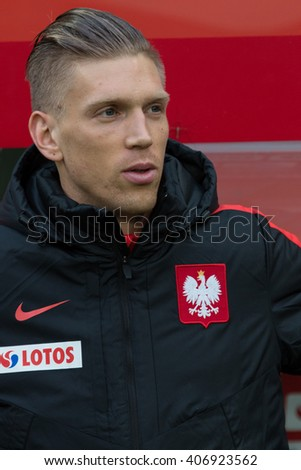 WROCLAW, POLAND - MARCH 26, 2016: Bartosz Salamon (Poland) before the friendly football match between Poland and Finnland at the Municipal Stadium in Wroclaw. - stock photo