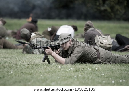 Wroclaw, Poland May 11. Polish young  soldier during historical reenactment of WWII, May 11, 2014 Wroclaw, Poland - stock photo