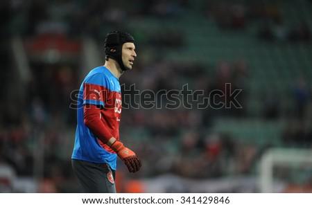 WROCLAW, POLAND - NOVEMBER 17, 2015: EURO 2016 European Championship friendly game Poland - Czech Republic o/p Petr Cech of Arsenal London - stock photo