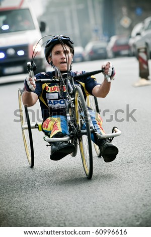 WROCLAW - SEPTEMBER 12: Disabled athlete at Wroclaw Marathon, September 12, 2010 in Wroclaw, Poland - stock photo