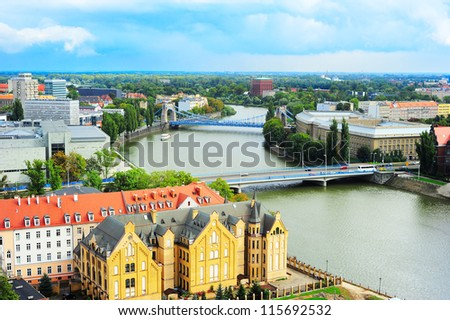 Wroclaw skyline, Poland. Aerial view - stock photo