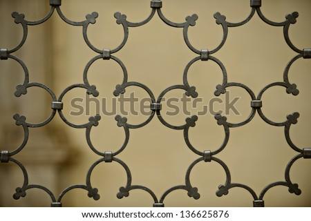 Wrought iron door decoration closeup. - stock photo