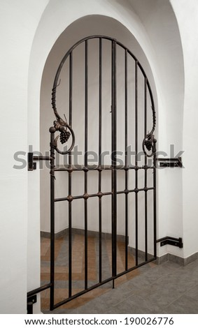 wrought iron doors with decorative elements - stock photo