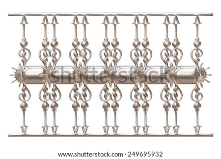 wrought iron fence and gate detailed on isolated white background. - stock photo