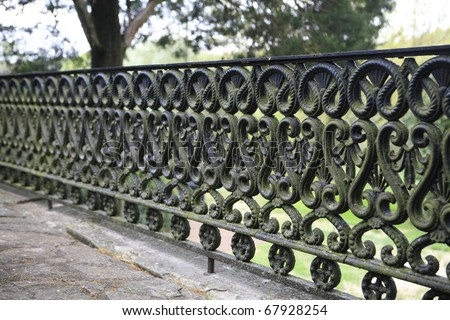 Wrought iron GATE  CIRA 1800'S AT A nASHVILLE MANSION - stock photo