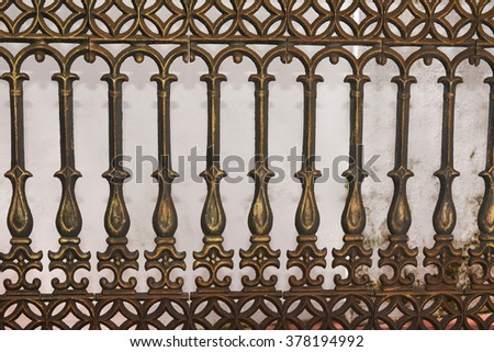 Wrought Iron Gate, Door, Fence, Window, Grill, Railing Design. vintage border set. metal decorative fence/ cast iron fence. Black pattern railing of a house in Kerala, India. - stock photo