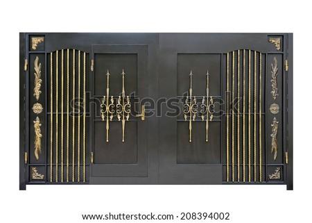 Wrought iron, steel, decorative gates..  Isolated over white background. - stock photo