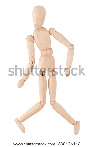 Wry wooden ball-jointed doll, isolated on white background - stock photo