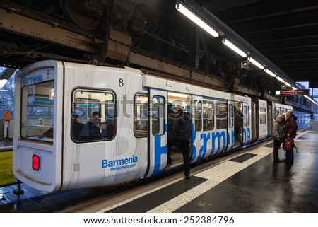 WUPPERTAL, GERMANY - JAN 25: Wuppertal Suspension Railway (Wuppertaler Schwebebahn). The historic Railway was opened in 1901 and is still in use today. January 26, 2015 in Wuppertal, Germany