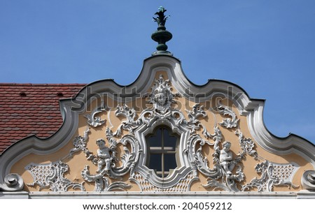 WURZBURG GERMANY - JULY 18: House of Falcon, the finest Rococo style building in the city. Erected in the 18th century reconstructed in the 1950s, on July 18, 2013 in Wurzburg, Germany
