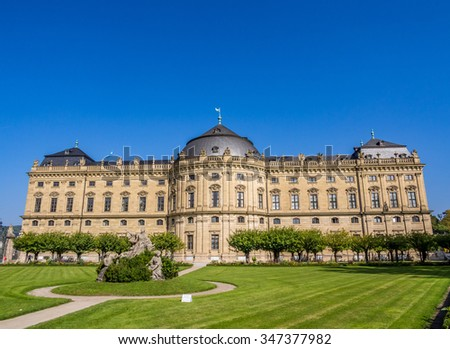 WURZBURG, GERMANY - SEP 28: The Wurzburg Residence in Wurzburg, Germany on September 28, 2013. The Wurzburg Residence was inscribed in the UNESCO World Heritage List in 1981.
