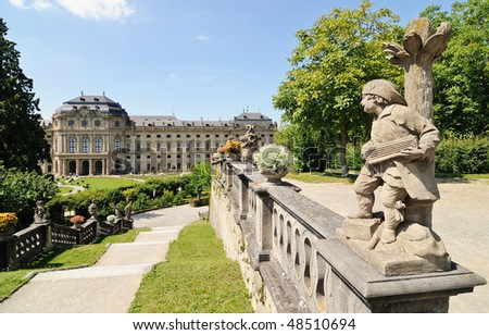 Wurzburg Residence with sculpture on foreground (UNESCO) - stock photo