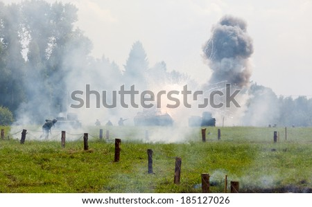 WW2 Russian heavy tank KV 2, and the explosion of a shell hit - stock photo