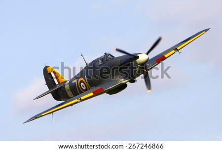WW2 Sea Hurricane RAF fighter aircraft at a Shuttleworth Collection air display at Old Warden airfield, Bedfordshire ,UK. taken 26/09/2014 - stock photo