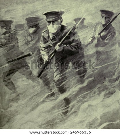 WWI. Dramatic illustration of a British bayonet charge through poison gas. On April 22, 1915, German forces introduced the use of lethal chlorine gas at Ypres, Belgium. - stock photo