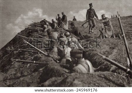 WWI. Serbia trench position at the crest of a hill. Ca. 1914-18. - stock photo