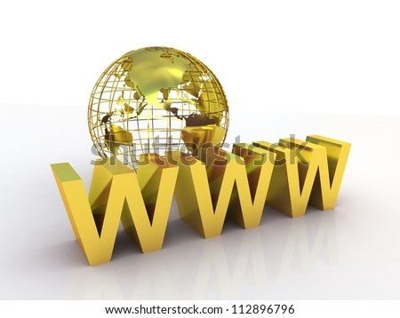 WWW and globe gold, 3D images - stock photo