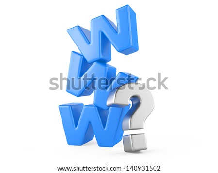 www and question mark,  web concept - searching information - stock photo
