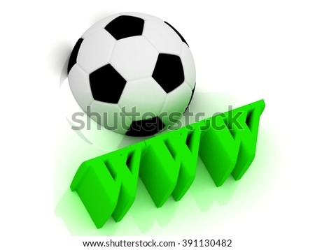 WWW bright volume letter word, football half ball on white background - stock photo