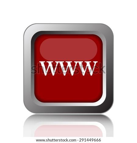 WWW icon. Internet button on white background  - stock photo
