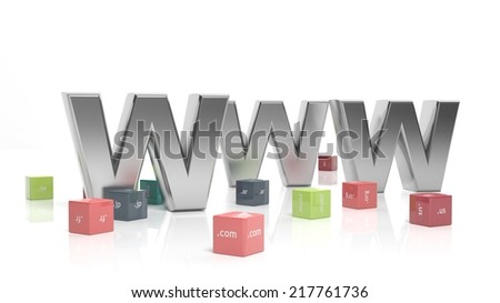 WWW in 3d with colorful cubes and domain extensions  - stock photo