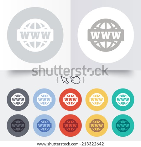 WWW sign icon. World wide web symbol. Globe. Round 12 circle buttons. Shadow. Hand cursor pointer. - stock photo