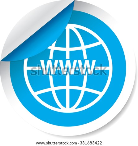 WWW sign icon. World wide web symbol modern blue label and sticker on a white background.