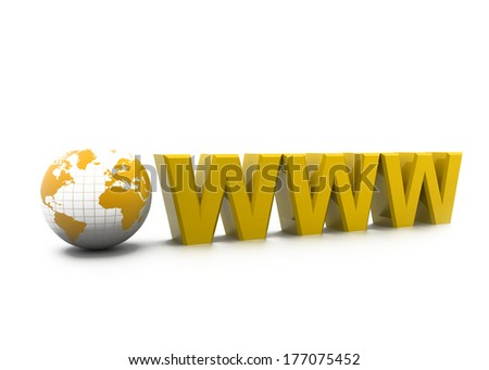 Www with world. Internet concept - stock photo