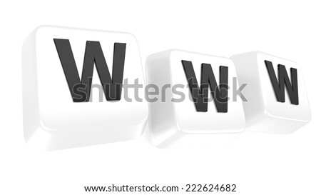 WWW written in black on white computer keys. 3d illustration. Isolated background. - stock photo