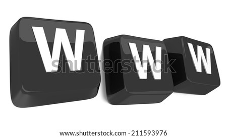 WWW written in white on black computer keys. 3d illustration. Isolated background. - stock photo