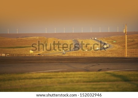 Wyoming Highway I-80 - Wyoming Landscape - stock photo