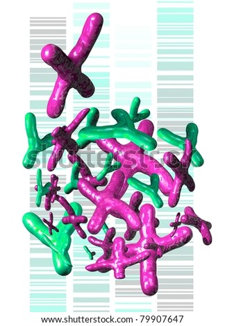 x and y chromosomes rendered in 3d against a background of dna sequences. - stock photo