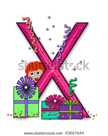 """x, in the alphabet set """"Birthday Letters"""", is surrounded by colorfully wrapped presents complete with bows.  Woman hides behind presents and peeks out pretending surprise. - stock photo"""