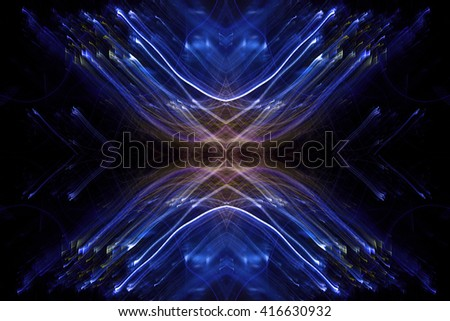 X mark of light, thin lines on dark background, abstract texture, digital illustration art work. - stock photo