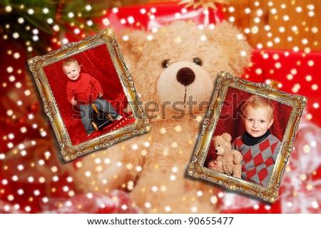 X-Mas Teddy with portrait - stock photo