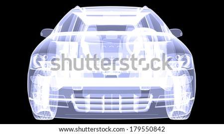 X-ray concept car. Isolated render on a black background - stock photo