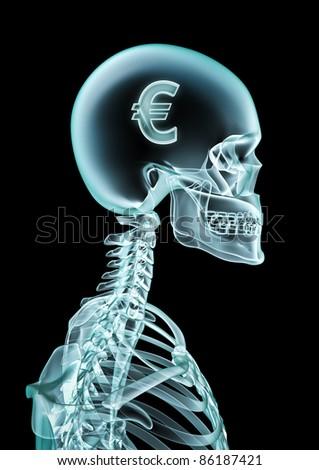 X-ray euro - stock photo