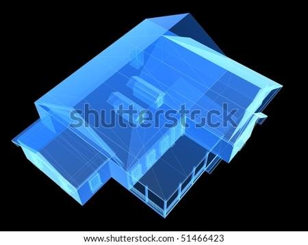 x-ray house - stock photo